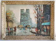 Fantastic 1950and039s Impressionism Paris Street Oil Painting W/ Beverly Hills Frame