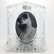 Mikasa Princess Crystal Glass Picture Frame Wedding Photo Frosted Scrolls 5x7