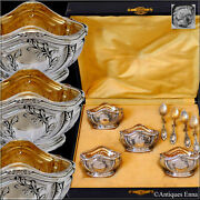 Puiforcat French Sterling Silver 18k Gold 4 Salt Cellars Spoons Box Empire