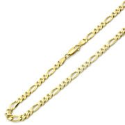Men Women 14k Yellow Gold Chain 6.9mm Solid Ultra Light Weight Figaro Necklace