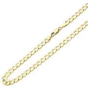 Men Women 14k Yellow Gold Chain 7mm White Pave Curb Chain Necklace