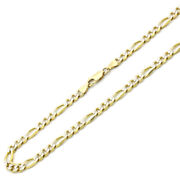 Men Women 14k Yellow Gold Chain 6mm Concaved White Pave Figaro Chain Necklace
