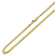 Men Women 14k Yellow Gold Chain 4mm Concaved Curb Chain Necklace