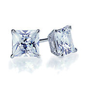 1 Carat Diamond Solid 14k White Gold 4.5mm Princess Cut Solitaire Stud Earrings