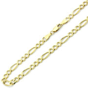 6mm 14k Yellow Gold Chain Flat Figaro Chain Necklace / Gift Box / Ship From Usa
