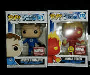 Funko Pop Fantastic Four 4 Collector Corps Human Torch 572, 571 Lot New Glows