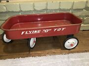 """Vintage Antique """" Flying - O - Tot """" Steel Red Wagon Mini 20 X 10 X 8"""