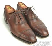 George Cleverley Brown Leather Cap Toe Oxfords Dress Shoes - Uk 9 / Us 10