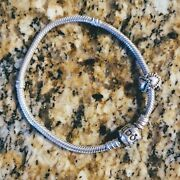 Pandora Sterling Silver Original Bracelet With One Charm Silver Hearts 7.5