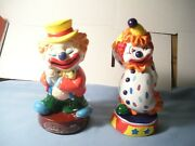 A Pair Of Vintage Hard Plastic And One Is Hard Rubber Clown Banks 8 Tall