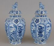 Perfect Pair Dutch Delft Blue And White Vases And Dog Final Lids, 18th C