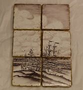 Lovely Rare Old Dutch Delft Manganese Tilepicture With Voc Ships And Boats