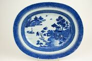Perfect 37cm / 14.8 Inch Large 18th C. Chinese Export Platter Willow Pattern