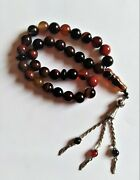 Old Real Rosary Tasbih Agate Stone Islamic Rosary 33 Prayer Beads 10mm / 60gr