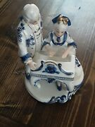 Rare Porcelain German Figurine Lady Playing Piano Whitebluegold Colonial Vintage