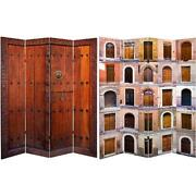 4 Panel Room Divider 6 Ft Folding Canvas Wood Privacy Screen Double Sided Doors