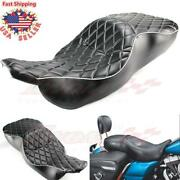 2-up Seats Rider Diamond Driver Passenger Two Up For Harley Electra Glide 97-07