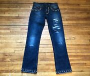Dolceandgabbana Runway Rare Distressed Studed Washed Double Zip Blue Jeans 44 30