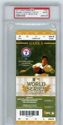 2011 Mlb World Series Texas Rangers St. Louis Cardinals Ticket Stub Psa 10 Gem