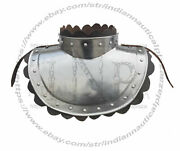 Medieval 18 G Steel Plate Armor Classic Gorget With Leather Decor Neck Protector