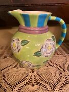 Essex Collection Fleurtations Pitcher Floral Blue Green By Heather Outlaw Kurpis