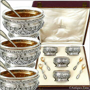 Puiforcat French Sterling Silver 4 Salt Cellars, Spoons, Box, Neoclassical