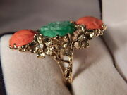 Estate Carved Jade And Coral Ring 14kt Y/g19.05tcw 16.5 Grams 39 X 21.5