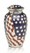 Large/adult 200 Cubic Inch American Flag Brass Funeral Cremation Urn For Ashes