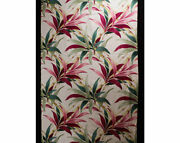 Set Of 4 Tropical Drapery Panels Plus Over 6 Yards Fabric - 40s Bamboo Barkcloth