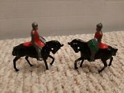 2-1950's England Lead Medieval Knights On Horses Shelf C1