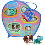 Year 2005 Littlest Pet Shop Lps Carry Case Series Set - Frog And Cocker Spaniel