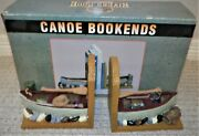 Set Of 2 River's Edge Products Canoe Bookends - Hand Painted Polyresin Finish