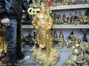 42 Inch Chinese Temple Pure Bronze Painted Gilt Famous Wei Tuo Warrior Statue