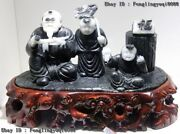 10 Chinese Natural Black White Dushan Jade Old Man And Two Children Boy Statue
