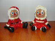 Vintage 1974 Raggedy Ann And Andy Bobbs Merrill Ceramic Christmas Santa Andmrs Claus