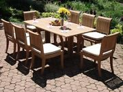 Giva 9-pc Outdoor Teak Dining Patio 69 Console/folding Table 8 Armless Chairs