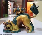 China Red Copper Gold Gilt Painting Guardian Two Fu Foo Dogs Lion Combat Statue