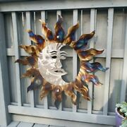 Metal Sun Wall Art Home Decor Sun With Moon Cottage Country Kitchen Deck Art