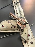 Vintage Gene Autry Cap Gun And Studded Leather Belt Used On Movie Set In 1940's