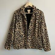 Chicos Womens Open Front Jacket Brown Leopard Stretch Lined Cotton Blend 1 M/8