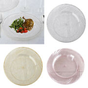 Glittered Clear Round Luncheon Plates 9 Party Wedding Disposable Tableware Sale