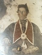 Antique Ioof Odd Fellow Masonic Hand Colored Red Gold Fine Art Ambrotype Photo