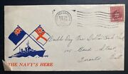 1945 Portage La Prairie Canada Patriotic Airmail Cover To Toronto Navy Is Here