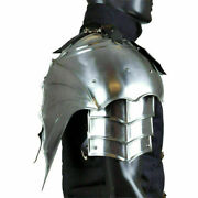 Medieval Templar Knight Renaissance Steel Armor Pauldrons And Medieval Gorget