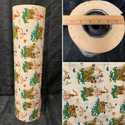 """Vtg Nos Nautical Pirate Ships Kids Wrapping Paper Department Roll 24"""" Wide"""