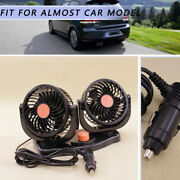 24v Car Fan 360° New Dual Head Rotatable Portable Vehicle Truck Auto Cooling