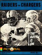1967 Oakland Raiders Vs San Diego Chargers Very Rare Afl Exhibition Game Program