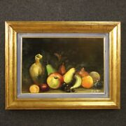 Painting Framework Still Life Signed Oil On Cardboard With Frame Antique Style
