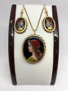 France Porcelain Limoges Hand Painted Lady Cameo Solid 14k Yellow Gold Set 15.4g