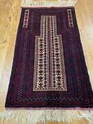 2and03910 X4and0399 Hand-woven Belouchi Prayer Rug Fine Wool Tribal Design Red Tan